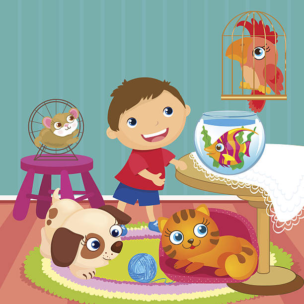 boy with pets in room - hamsterhaus stock-grafiken, -clipart, -cartoons und -symbole