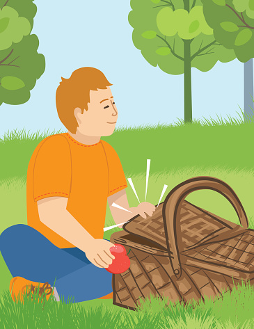 Boy With Picnic Basket Sitting In The Grass