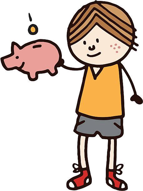 Boy with piggy bank vektorkonstillustration