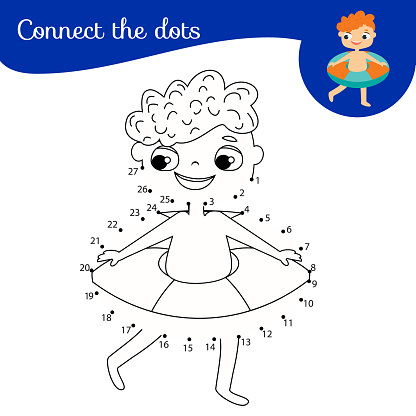Boy with rubber ring. Dot to dot by numbers activity for kids and toddlers. Children educational game
