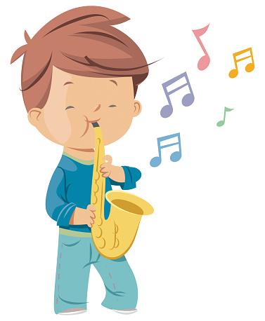 Boy with saxophone