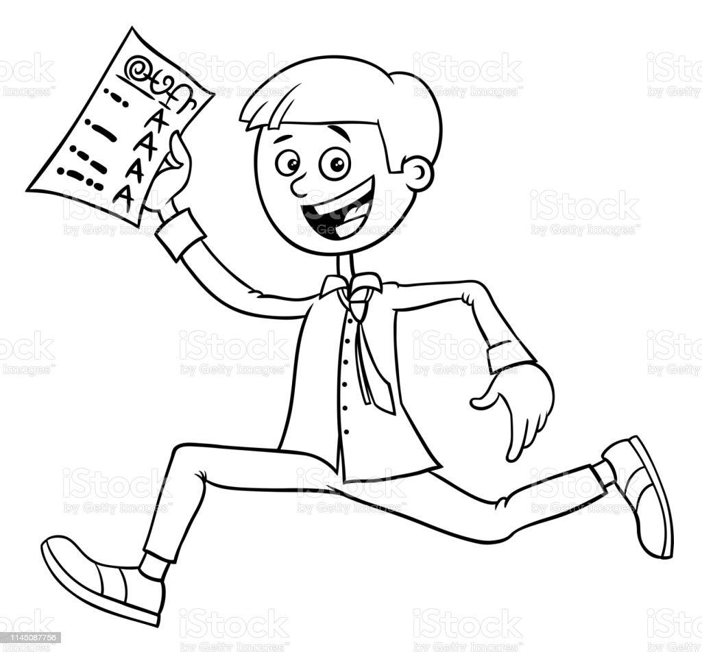 Ilustración De Chico Con Certificado De La Escuela Libro