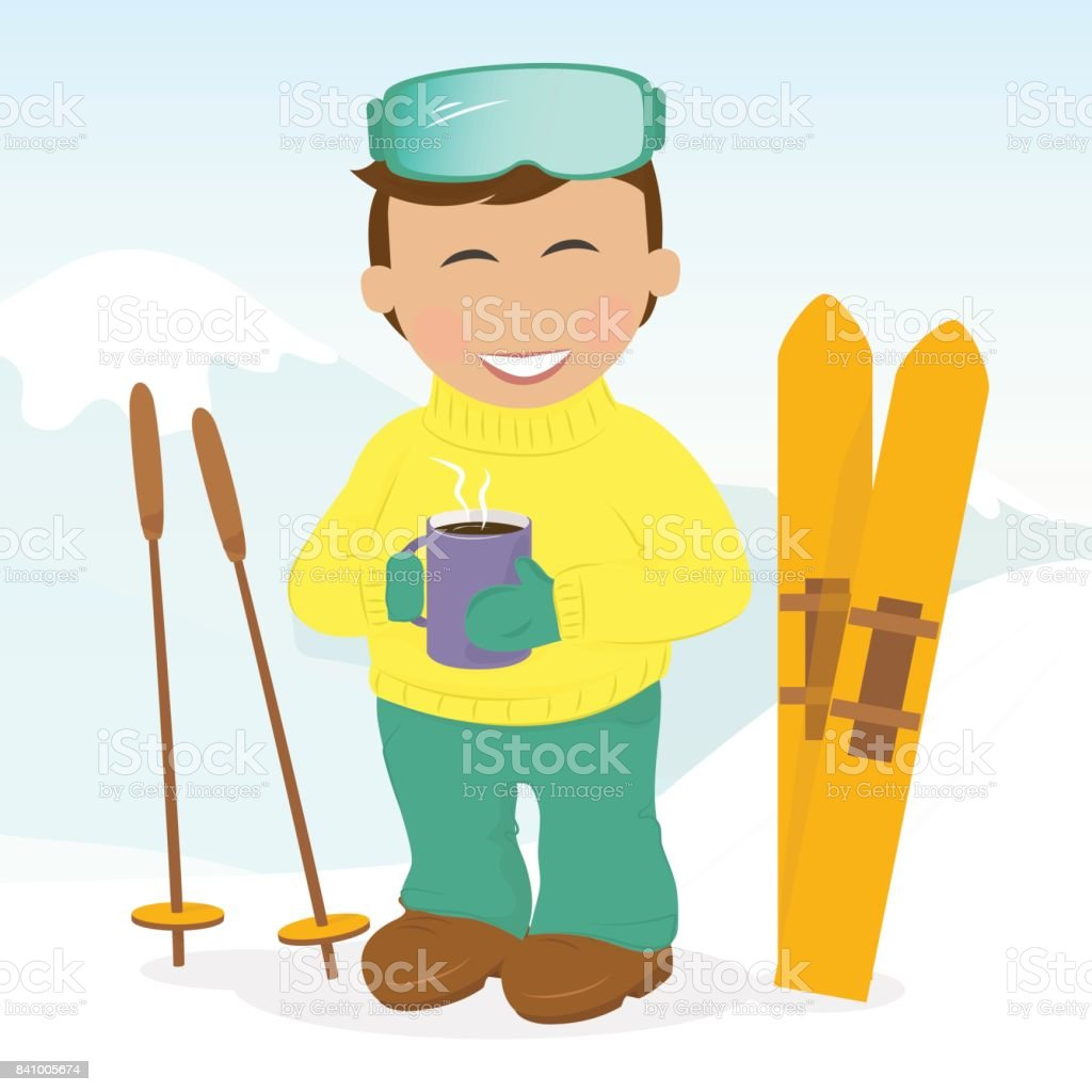Boy with skis drinking coffee. vector art illustration