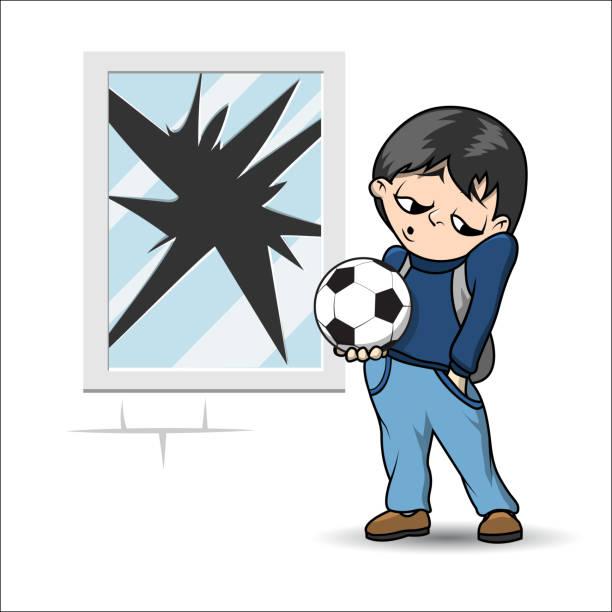 Junge mit Fußball ball – Vektorgrafik