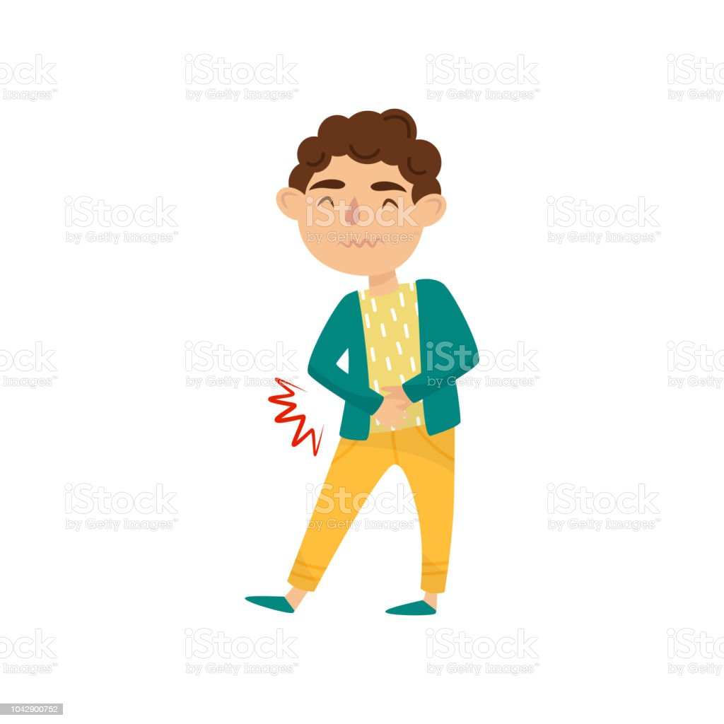 Boy with stomach ache. Cute little kid suffering from pain. Child with health problems. Symptom of disease. Flat vector design vector art illustration