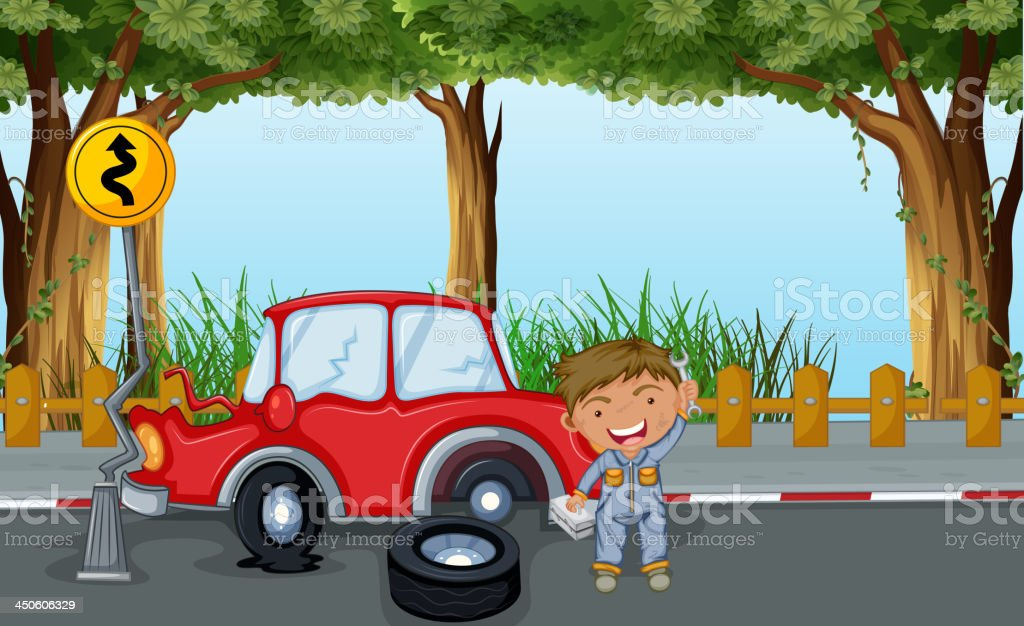 boy with tools and a red car at the road royalty-free stock vector art
