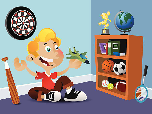 Boy with toy jet vector art illustration