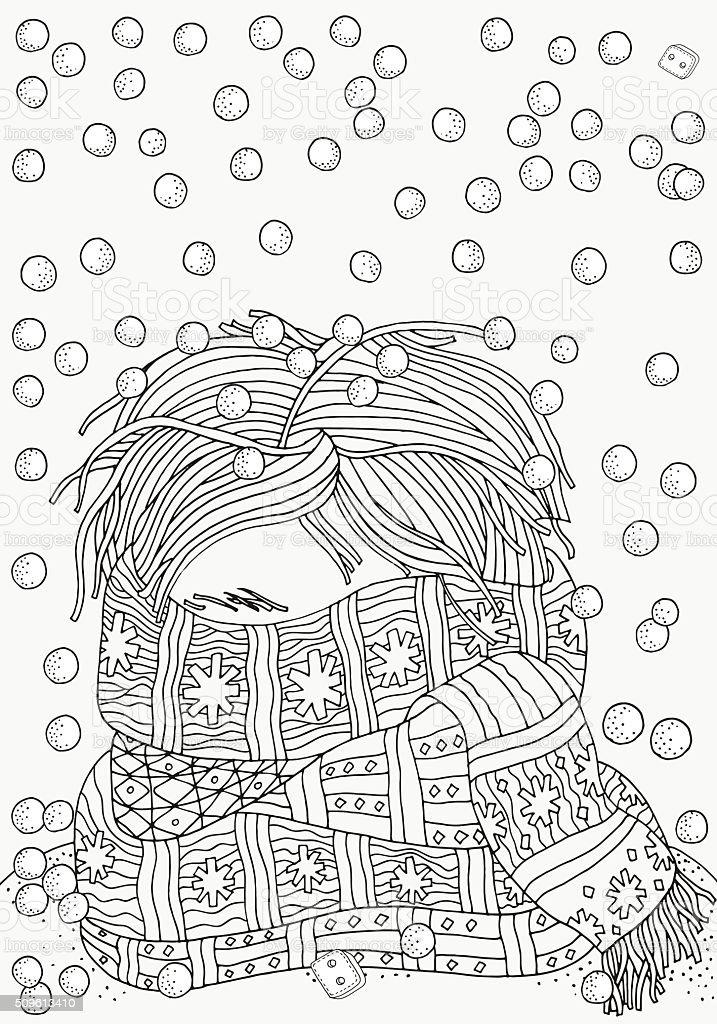Ilustración de Chico Con Bufanda Caliente Patrón Para Colorear Libro ...