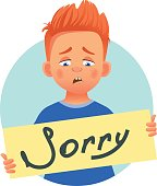 Boy with word sorry 2