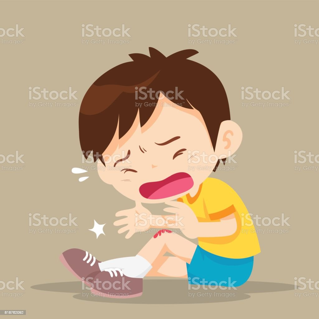 Boy with wounds on his leg vector art illustration
