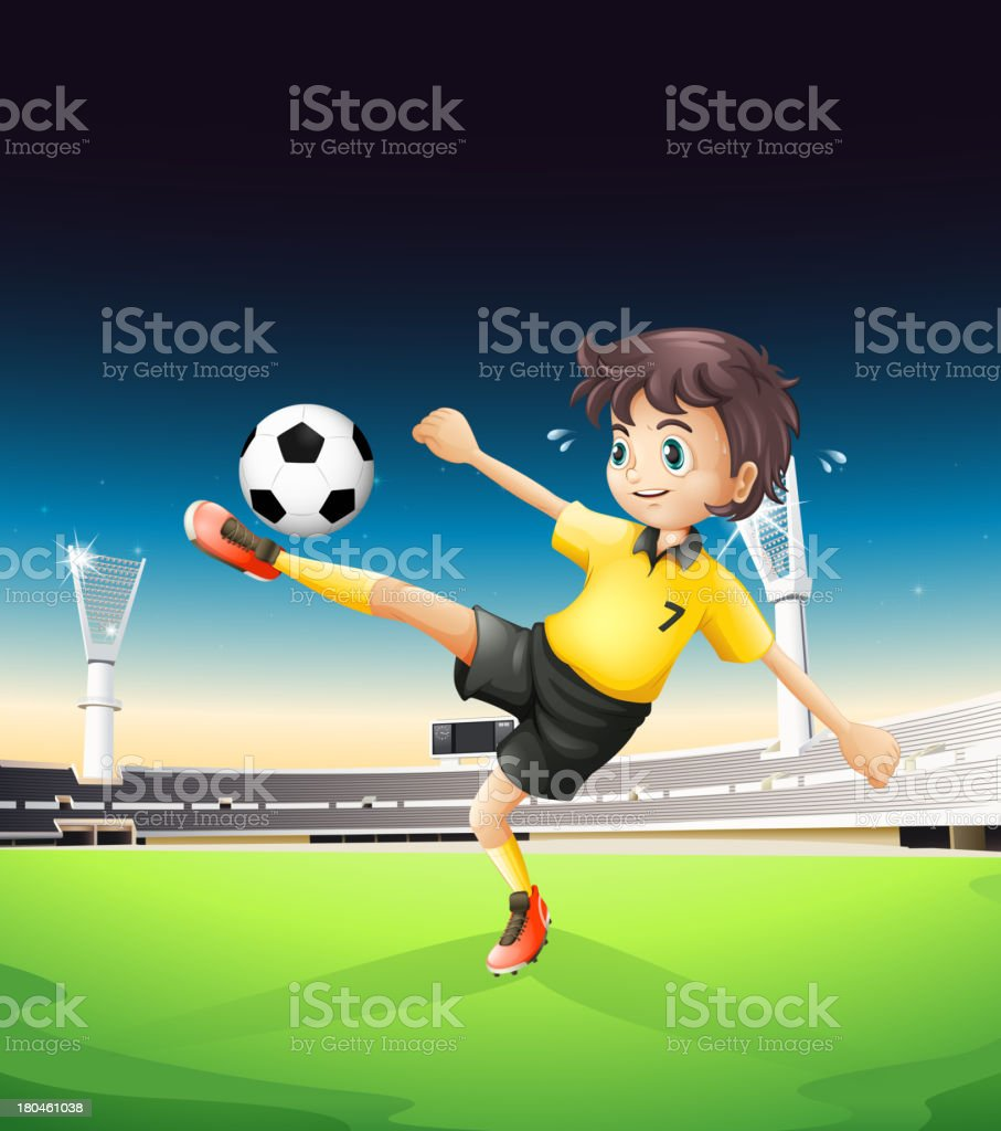 boy with yellow uniform playing soccer in the soccerfield royalty-free stock vector art