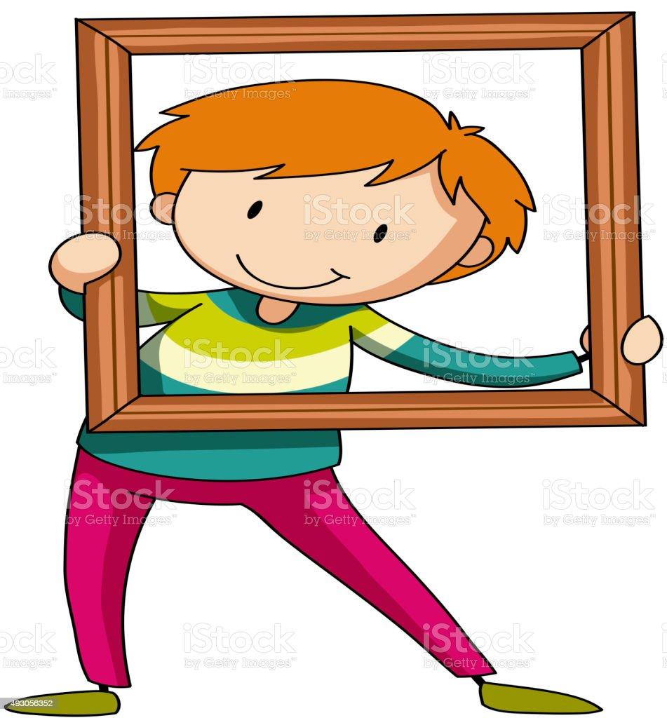 Junge Holz Bilderrahmen Vektor Illustration 493056352 | iStock