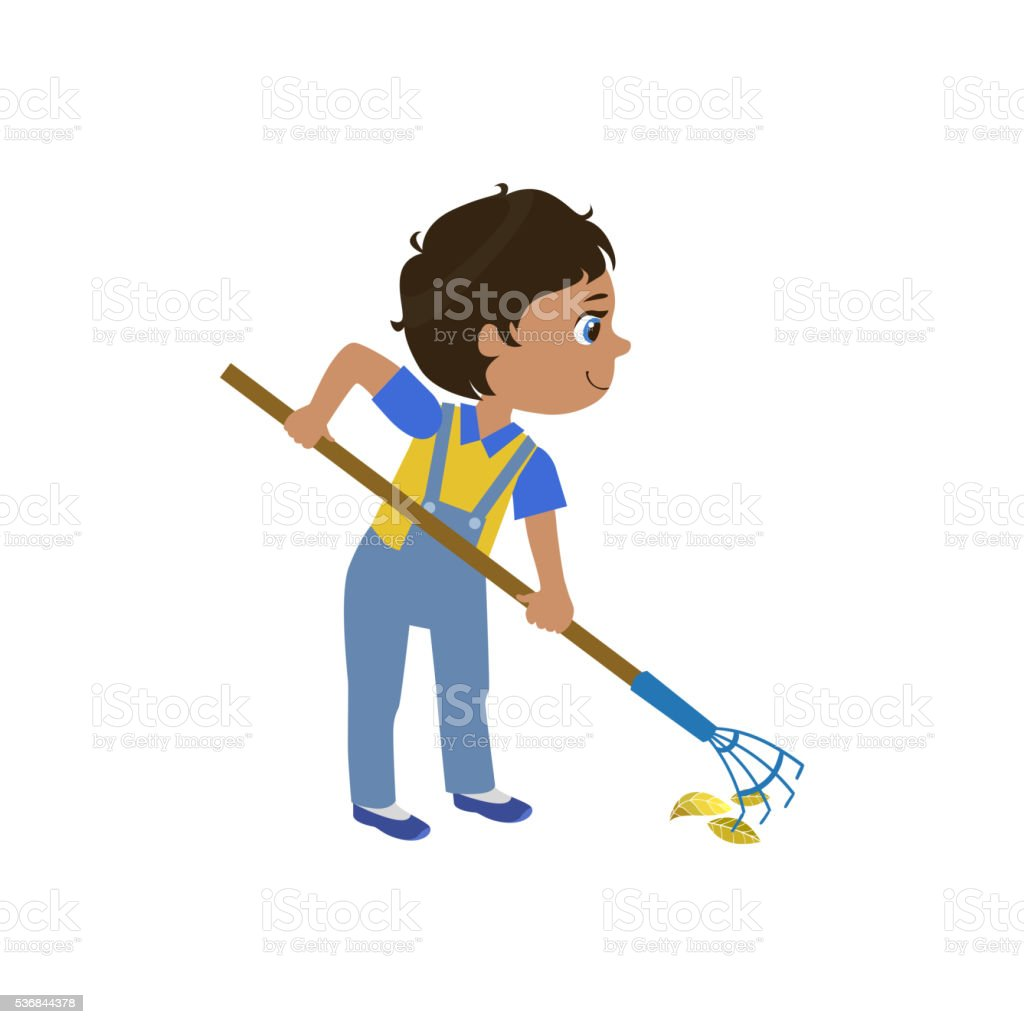 Boy Working With Rake vector art illustration