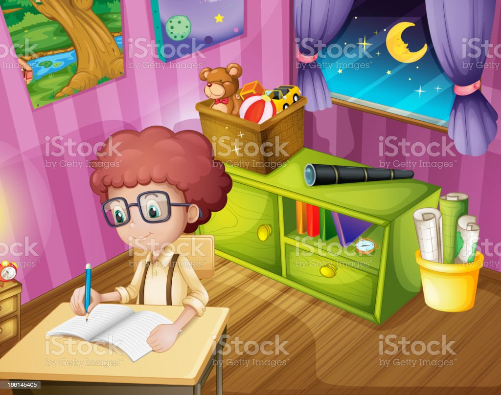 Boy writing inside his room royalty-free stock vector art