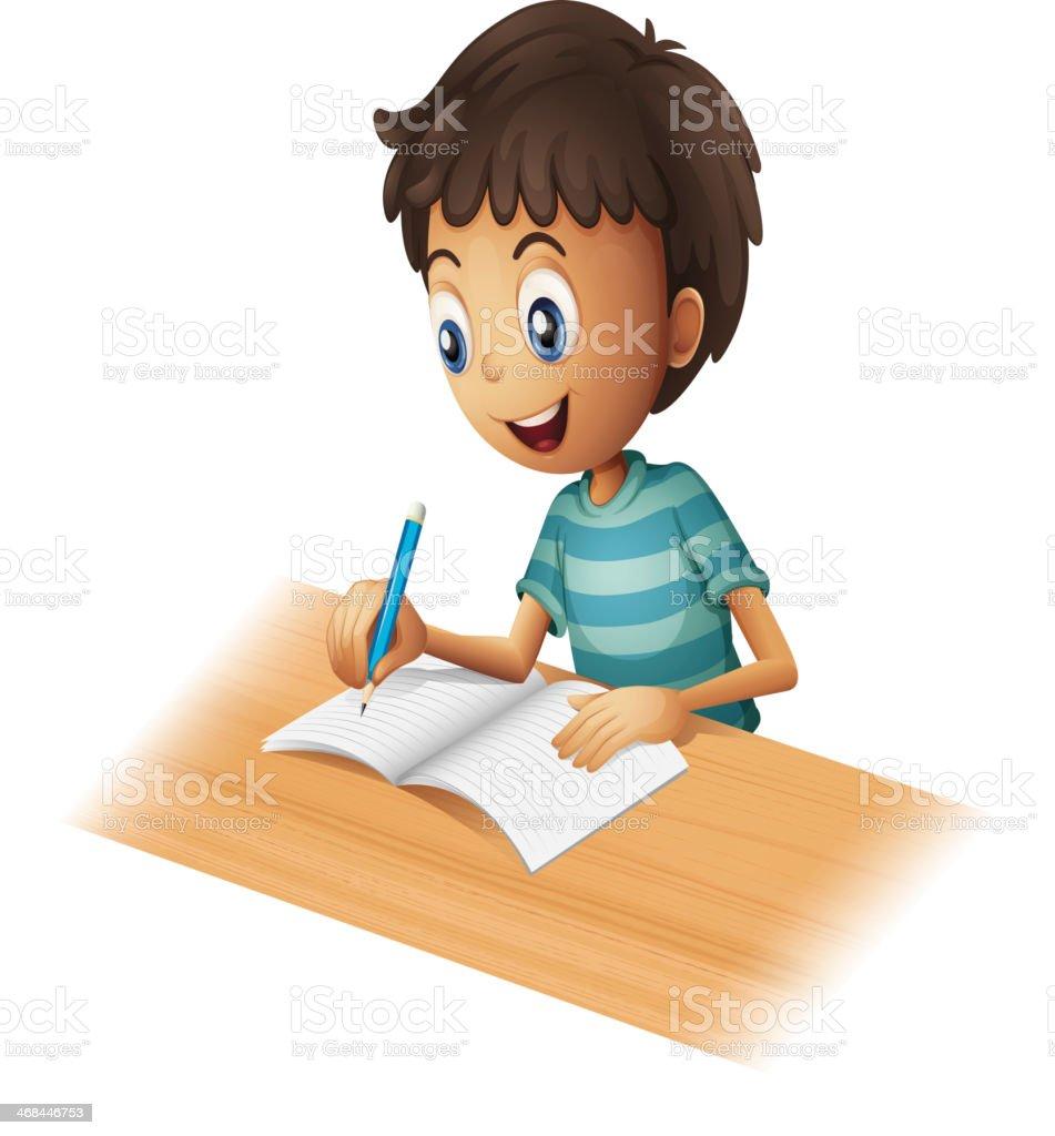 boy writing vector art illustration