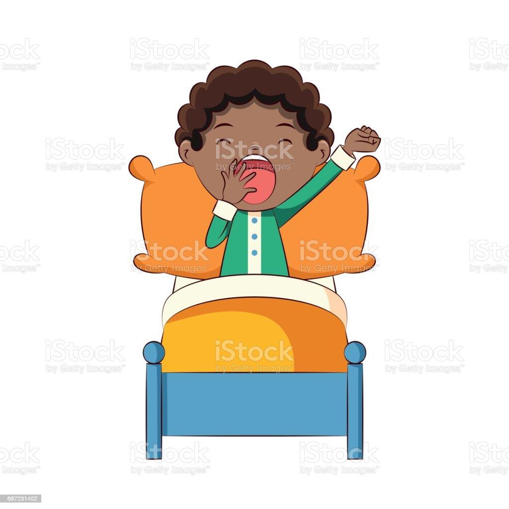 Boy yawning in bed vector art illustration