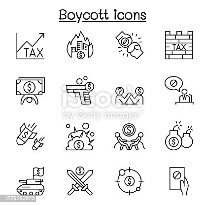 Boycott, business war, trade war icon set in thin line style