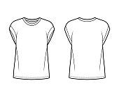 Boyfriend cotton-jersey T-shirt technical fashion illustration with classic crew neckline, short cap sleeves, oversized