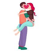 Boyfriend Kisses His Girlfriend Vector Illustration