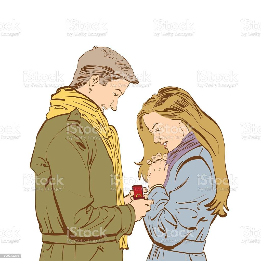 Boyfriend requesting hand of his girlfriend with a engagement ri - ilustración de arte vectorial