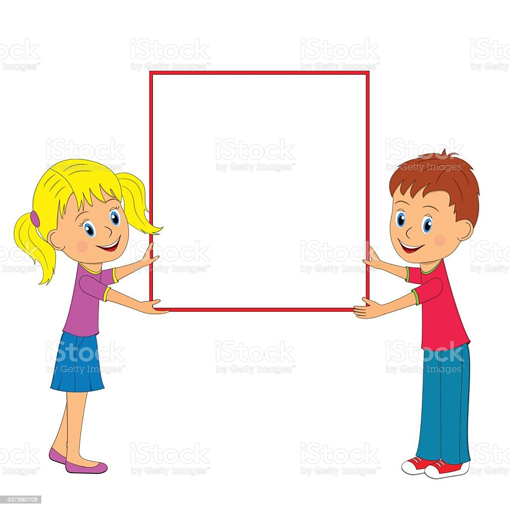 Boygirl And Frame Stock Vector Art More Images Of Blank 537390708