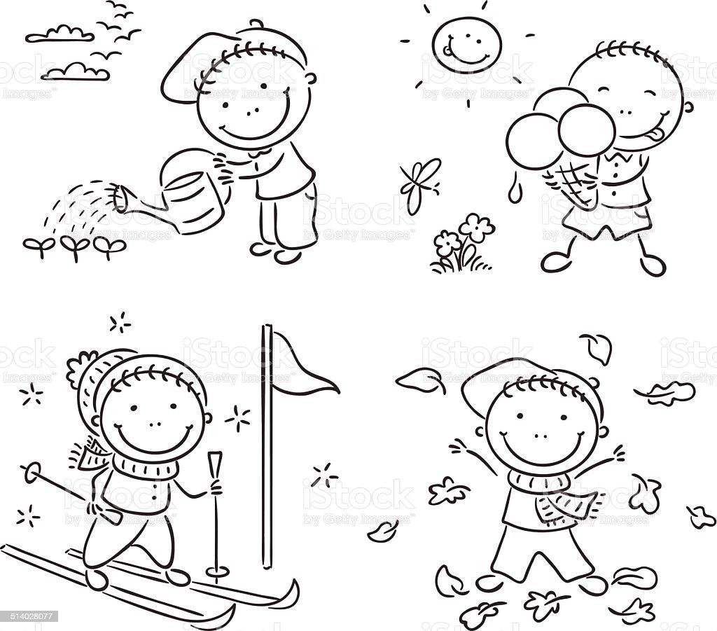 boys activities during the four seasons stock vector art