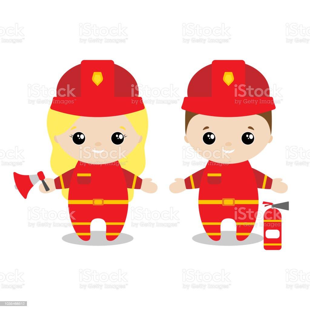 Chicos y chica bombero historieta estilo. Juego de Cute niños en profesiones. Ilustración de vector - ilustración de arte vectorial