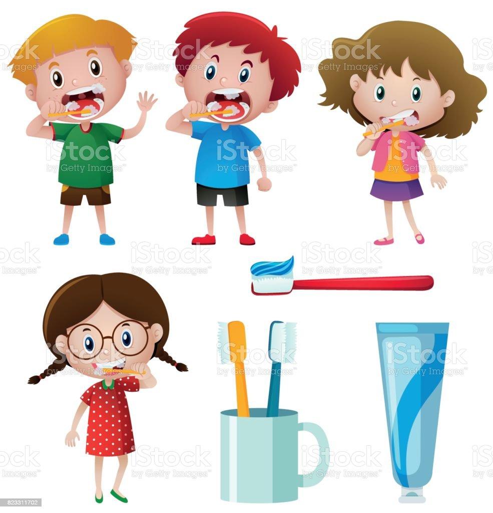 Boys and girls brushing teeth vector art illustration