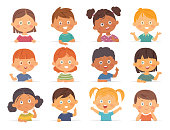Vector Boys and girls collection. Multi-ethnic group of happy children. Different cartoon faces icons