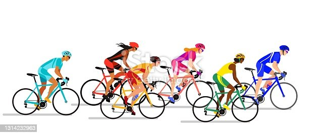 istock Boys and girls cyclists in biker uniform. Professional cyclists colorful vector illustration. 1314232963