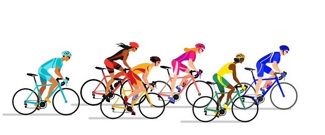 Boys and girls cyclists in biker uniform. Professional cyclists colorful vector illustration.