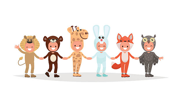 jungen und mädchen tanzen in einem kreis angezogen - giraffenkostüm stock-grafiken, -clipart, -cartoons und -symbole