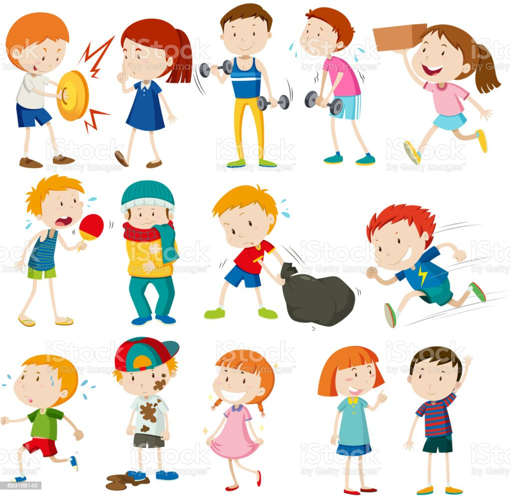 Boys and girls doing different activities vector art illustration