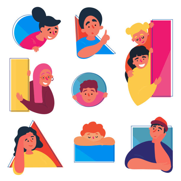 Boys and girls doodle set. People in various holes People in a geometric shapes and  window holes. Doodle set. Hand drawn flat style girls and boys in different situations. Concept. They hide, peep out, hang out, look with interest and curiosity. curiosity stock illustrations