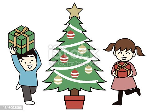 istock Boys and girls holding Christmas gifts. 1346093096