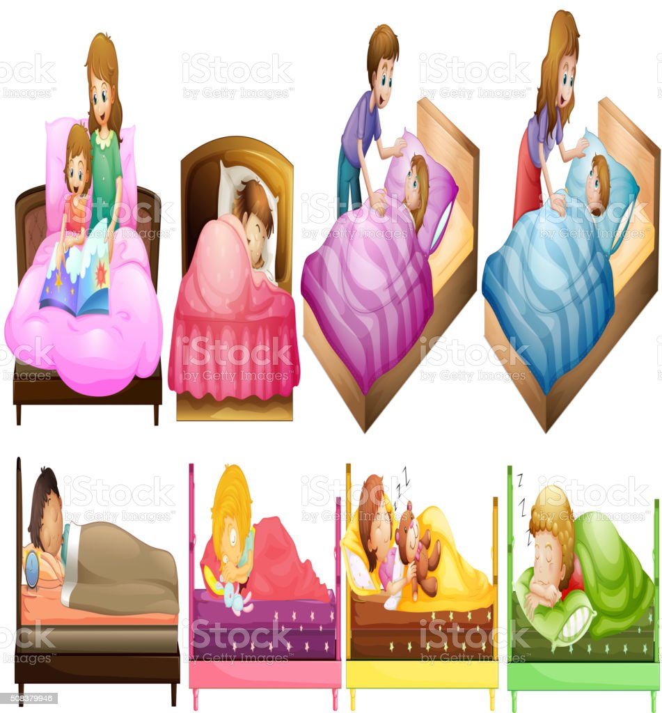 Boys and girls in bed vector art illustration
