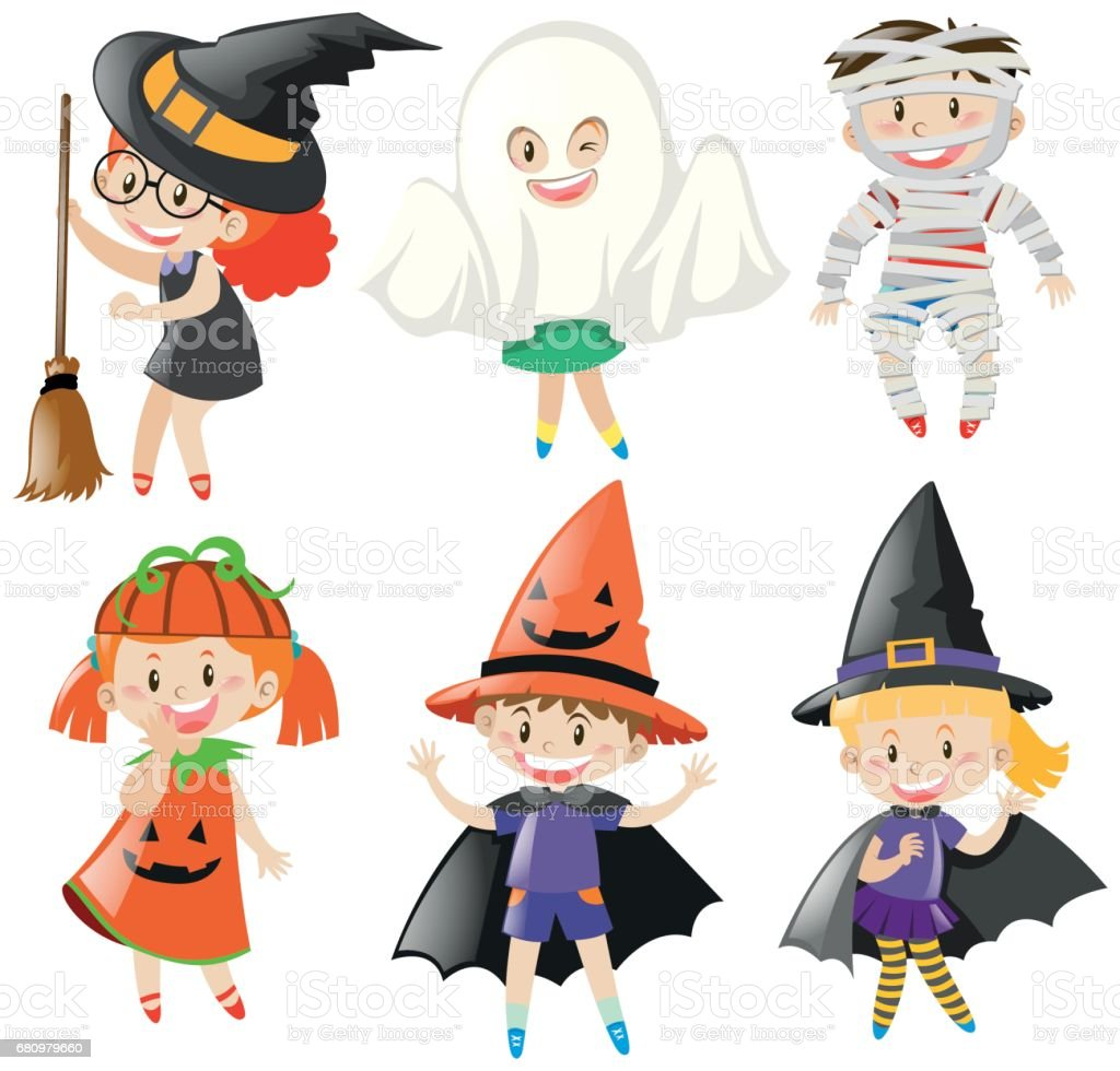 Boys and girls in halloween costumes royalty-free boys and girls in halloween costumes stock vector art & more images of art
