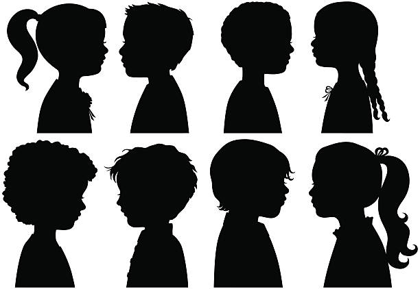 Boys and Girls in Silhouette Boys and Girls heads in profile and in Silhouette girls stock illustrations