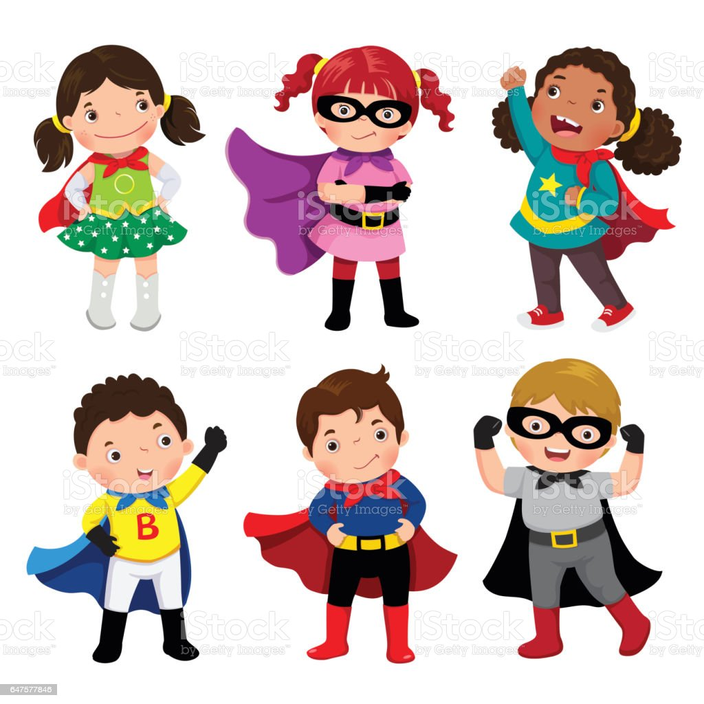 Boys and girls in superhero costumes on white background - illustrazione arte vettoriale