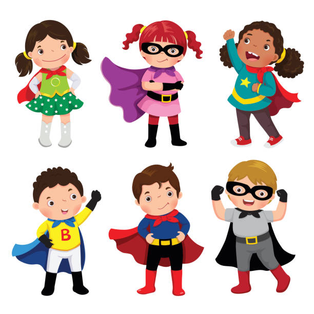 boys and girls in superhero costumes on white background - cartoon kids stock illustrations, clip art, cartoons, & icons