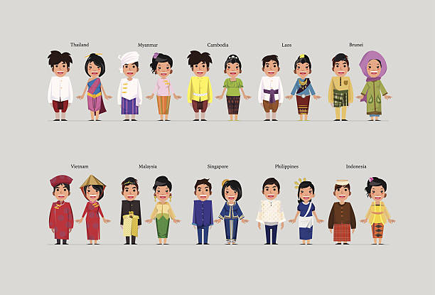 stockillustraties, clipart, cartoons en iconen met asean boys and girls in traditional costume - maleisië