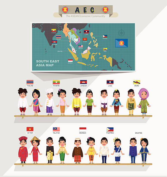 ASEAN boys and girls in traditional costume with map vector art illustration