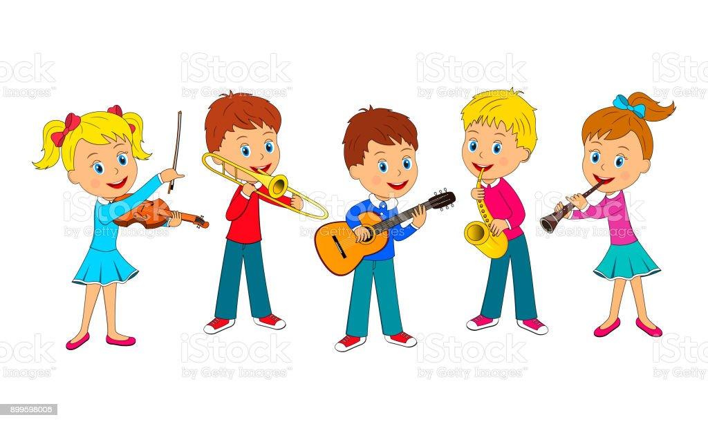boys and girls play music vector art illustration