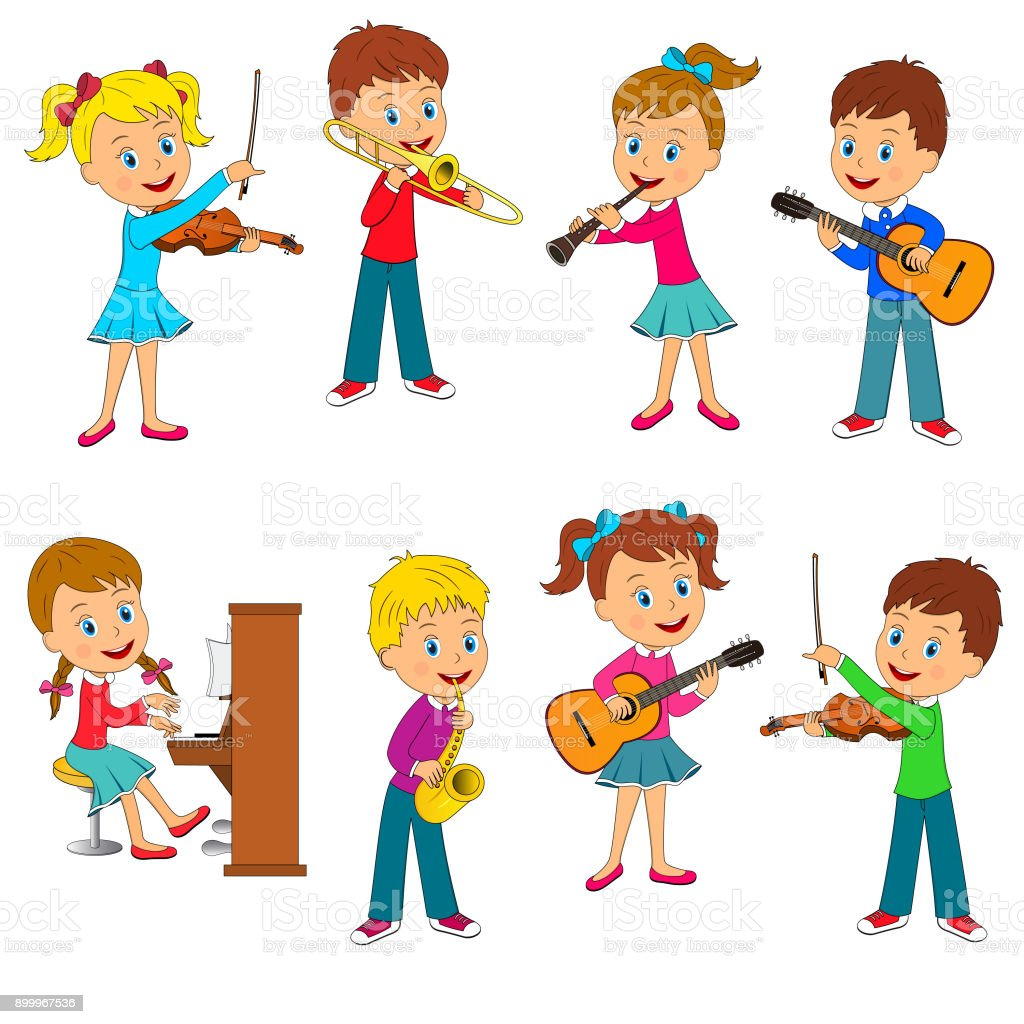 boys and girls playing music collection vector art illustration