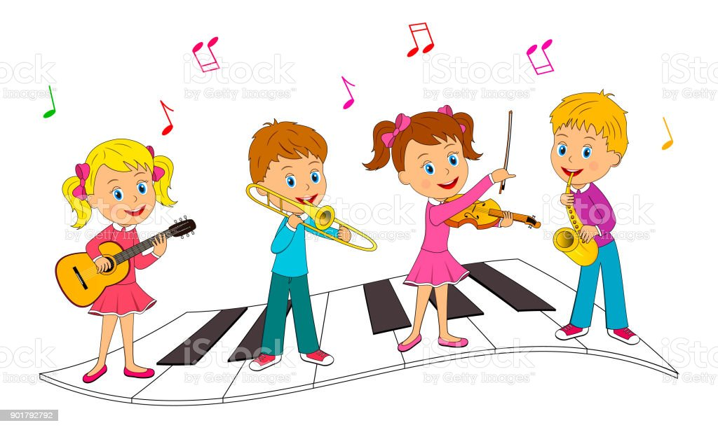 boys and girls playing music vector art illustration