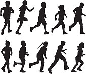 Vector silhuettes of boys and girls running.