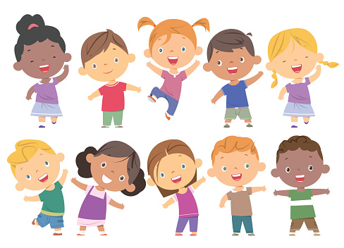 Boys and girls set clipart
