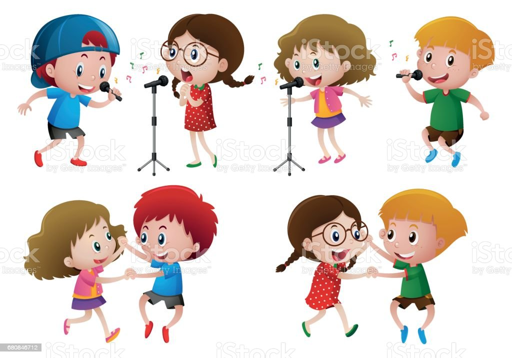 Boys and girls singing and dancing vector art illustration