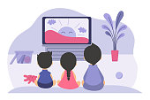 Boys and girls sitting at TV screen and watching cartoon movie for children. Vector illustration for childhood, television, video, show for kids concept