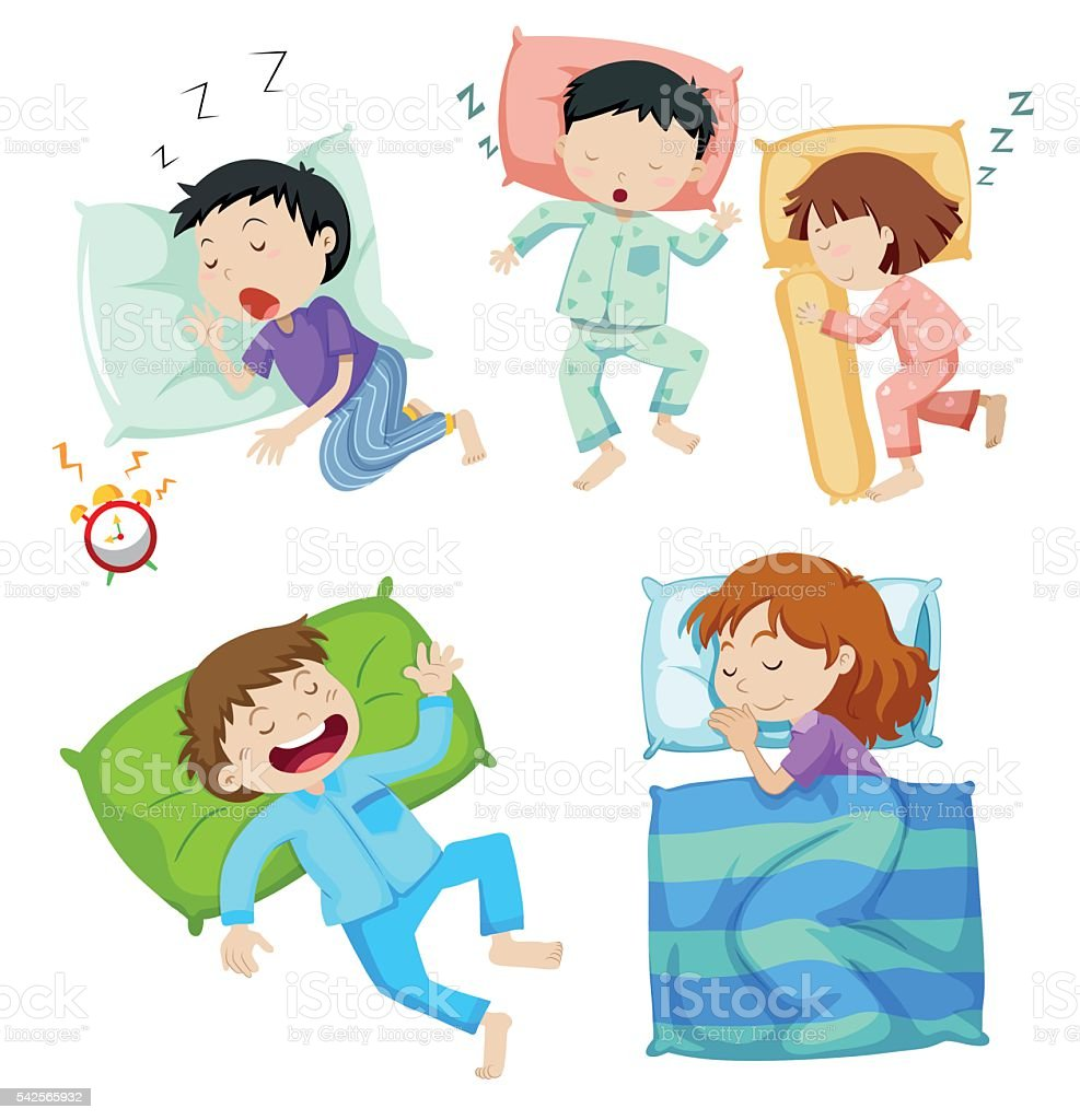 Boys and girls sleeping in bed vector art illustration